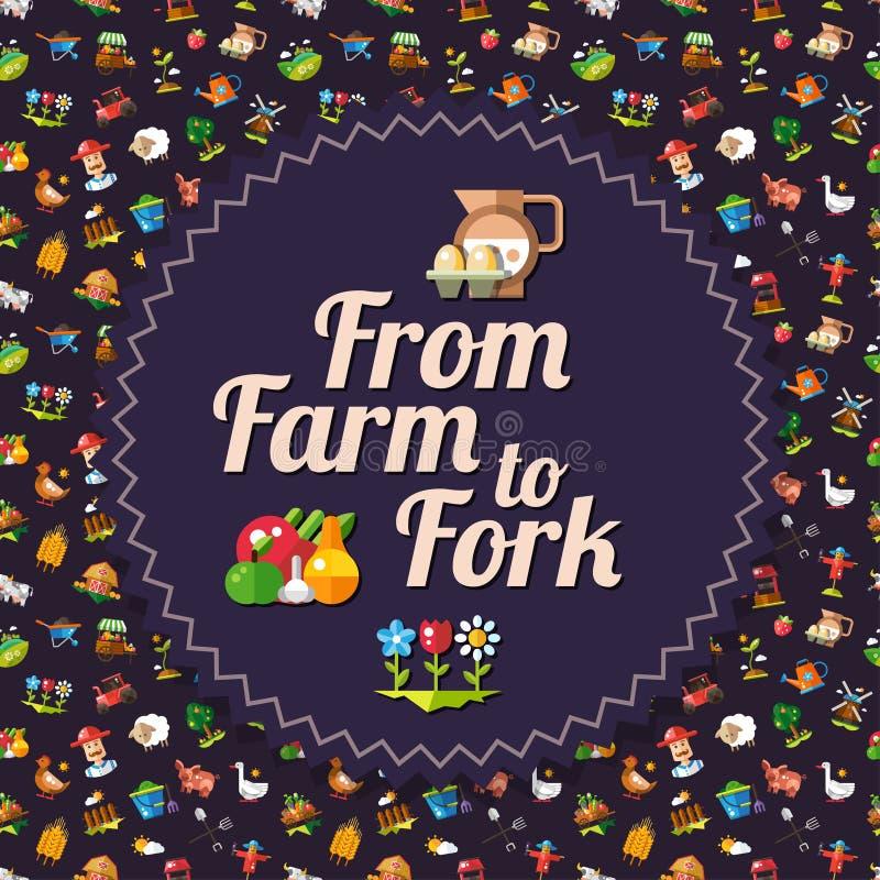 现代平的设计农厂和农业象 库存例证