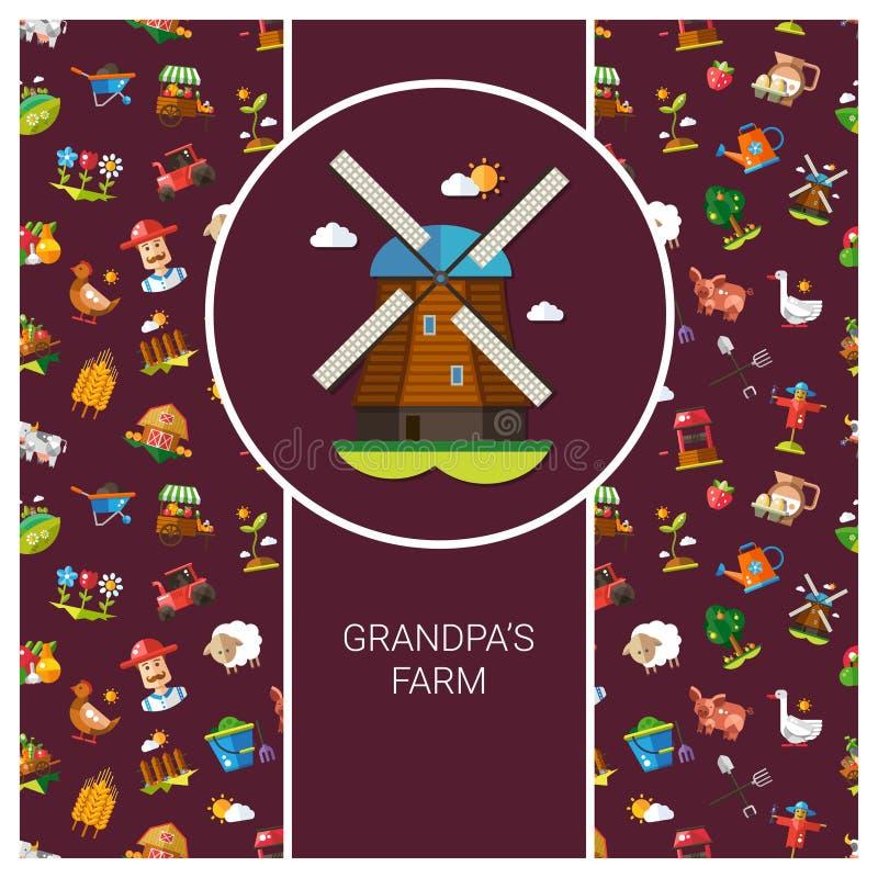 现代平的设计农场明信片模板和 皇族释放例证