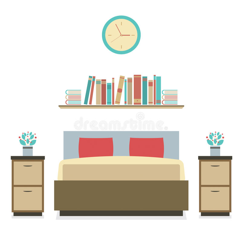现代平的设计卧室 皇族释放例证