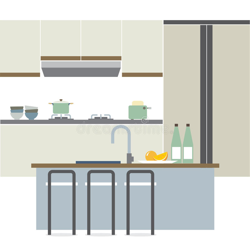 现代平的设计厨房内部 皇族释放例证
