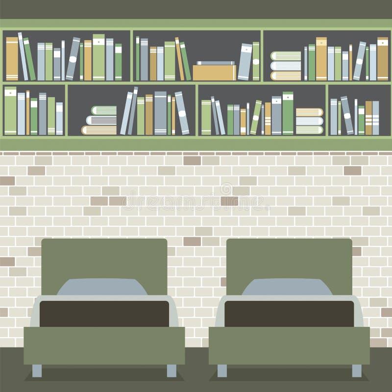 现代平的设计孪生卧室 向量例证