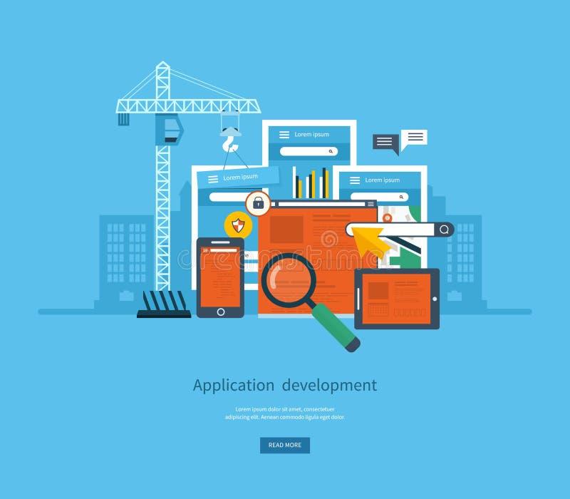 现代平的设计应用开发概念 向量例证