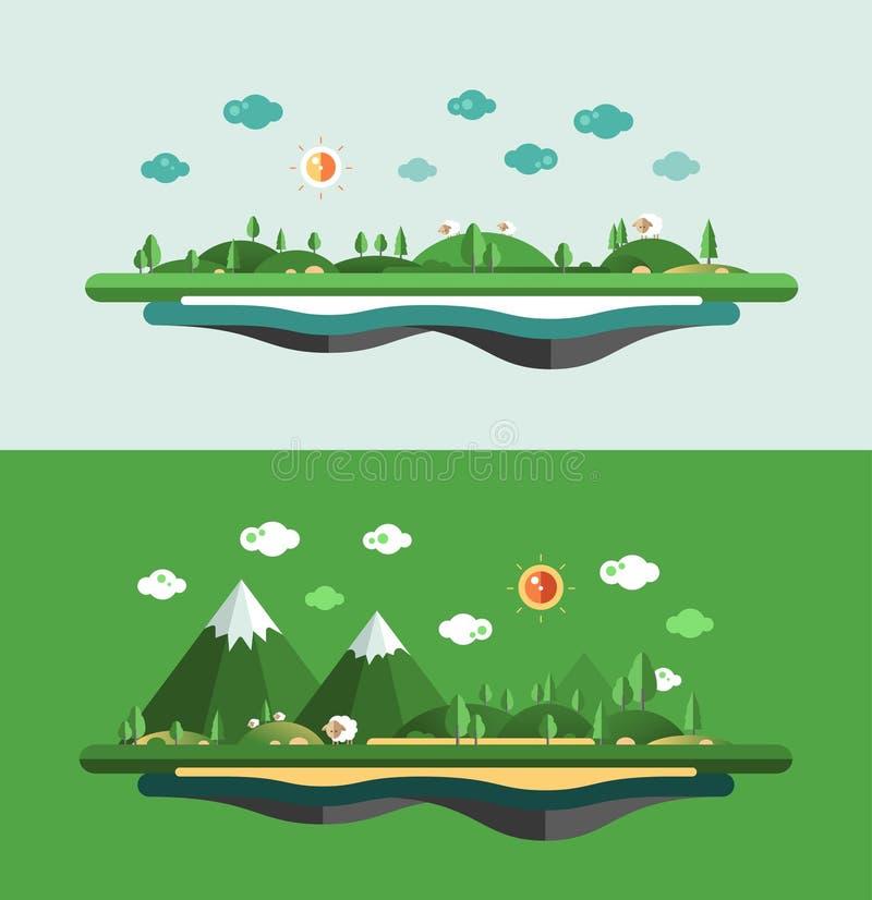现代平的设计概念性风景 向量例证