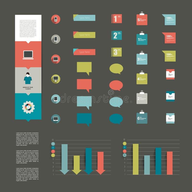 现代平的infographic元素的汇集。 库存例证