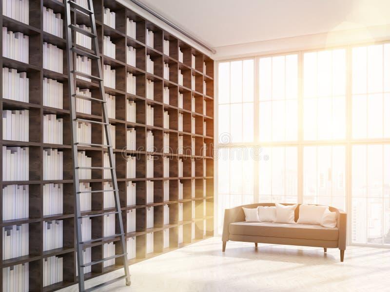 现代房子图书馆内部摩天大楼公寓的 皇族释放例证