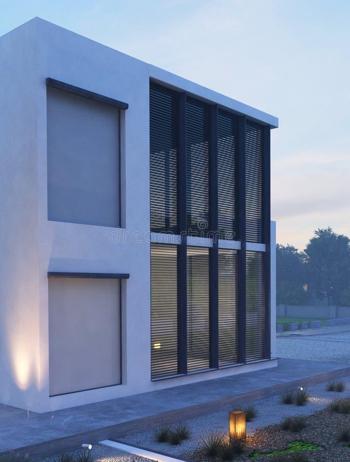 现代房子外部与室外照明设备在微明 库存图片