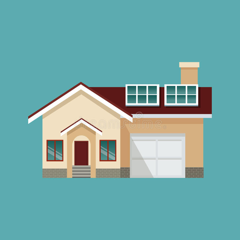 现代房子车库太阳电池板eco 向量例证