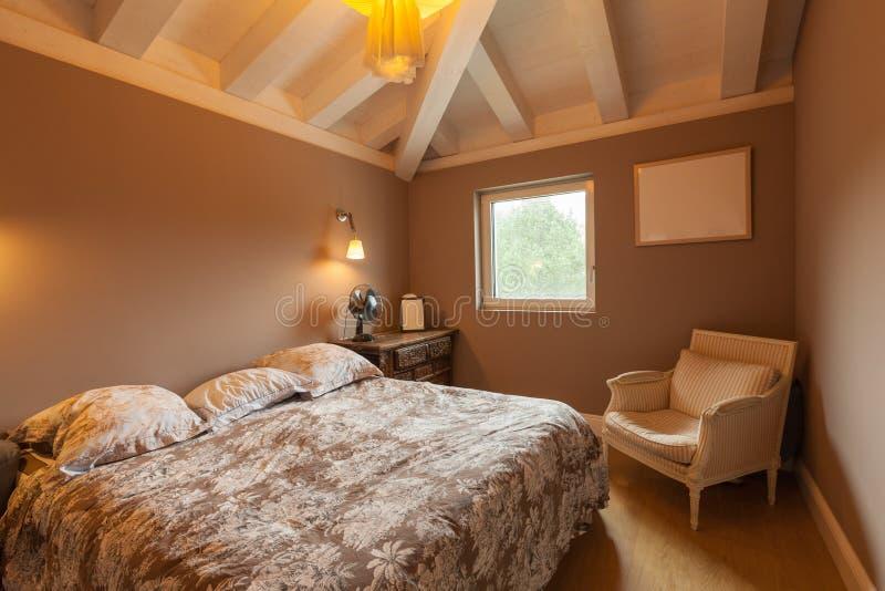 现代房子,现代卧室 免版税库存照片