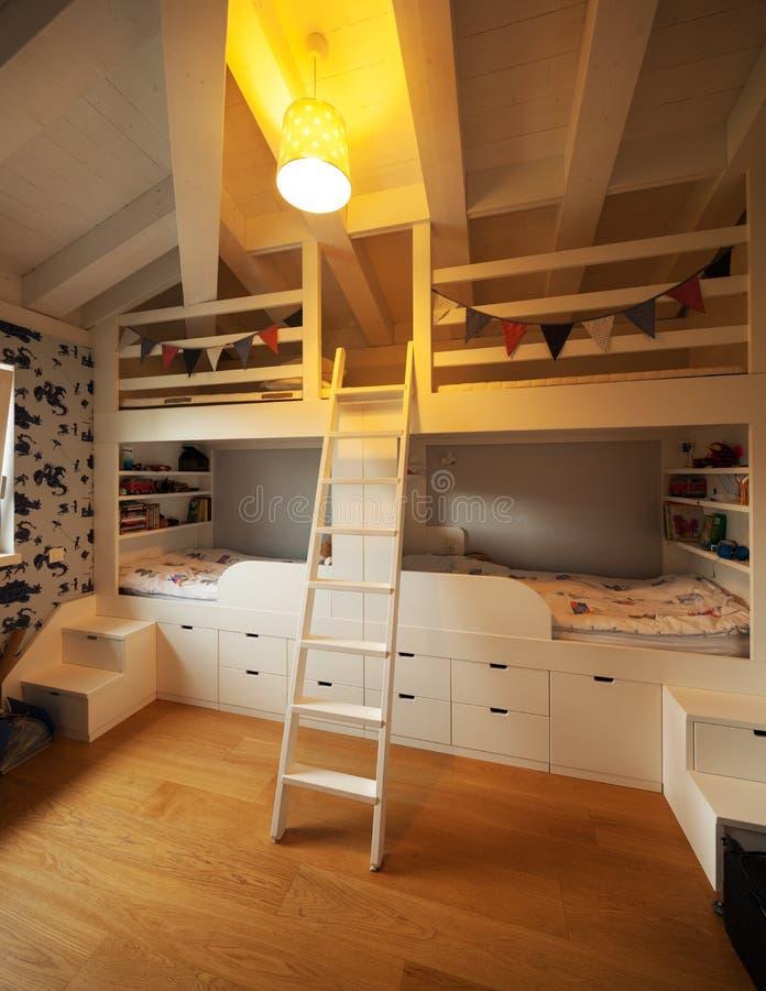 现代房子,现代卧室 库存图片