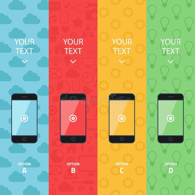 现代手机的平的传染媒介收藏 智能手机促进横幅 信息图表模板 库存例证