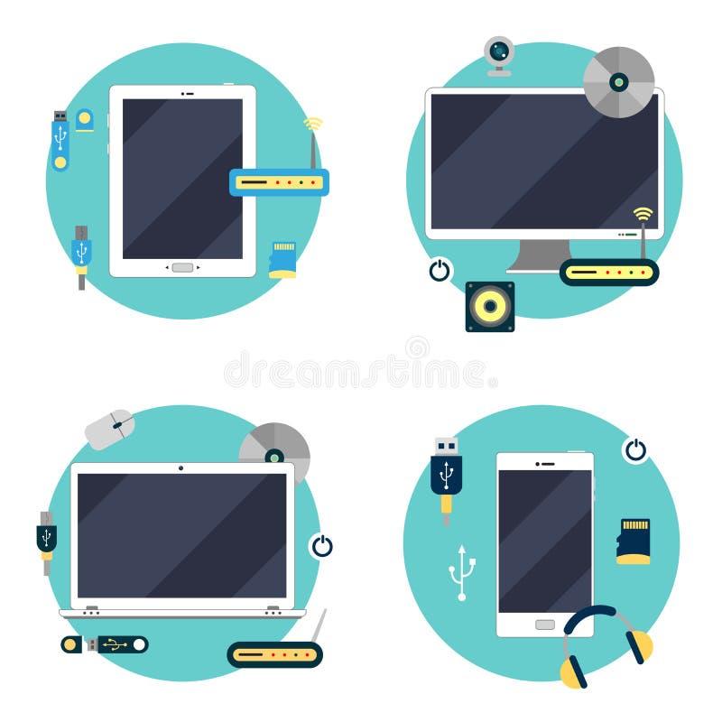 现代技术:膝上型计算机、计算机、片剂和智能手机 向量例证
