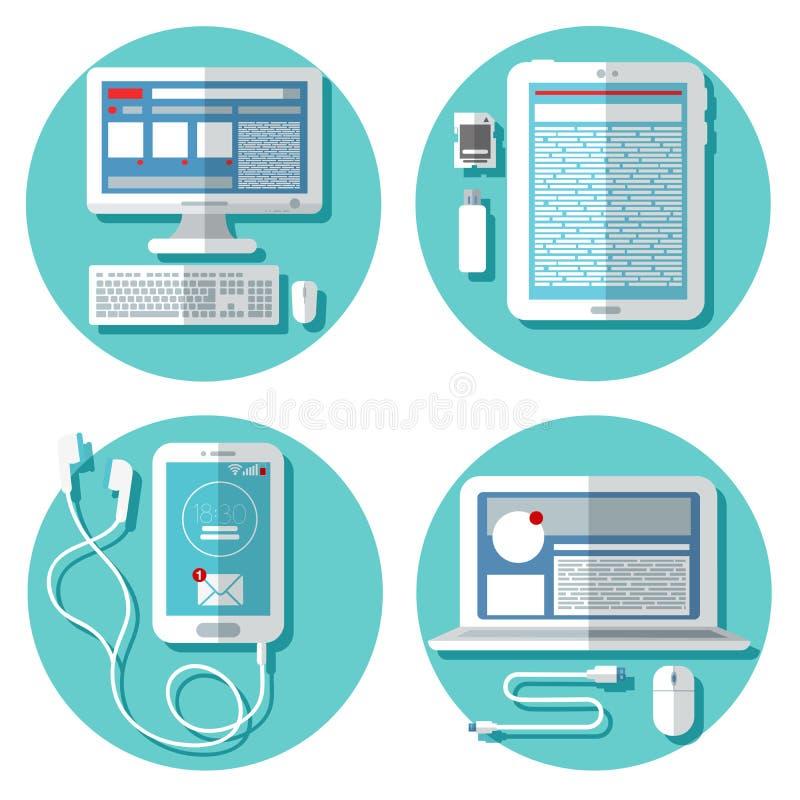 现代技术:膝上型计算机,计算机,智能手机,片剂 向量例证