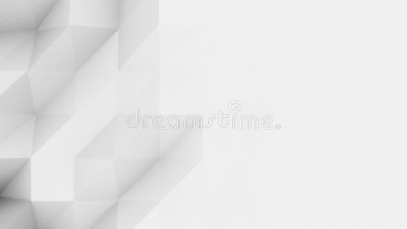 现代报告和presetations的抽象浅灰色的多角形背景 象Origami的设计 3d翻译 免版税库存照片
