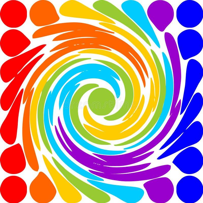 现代抽象彩虹螺旋主题 库存例证