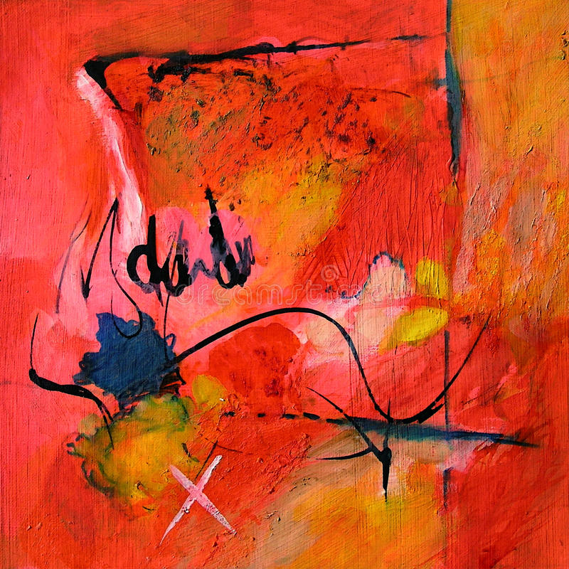 现代抽象派-绘画-黑书法/的街道画红色和 向量例证