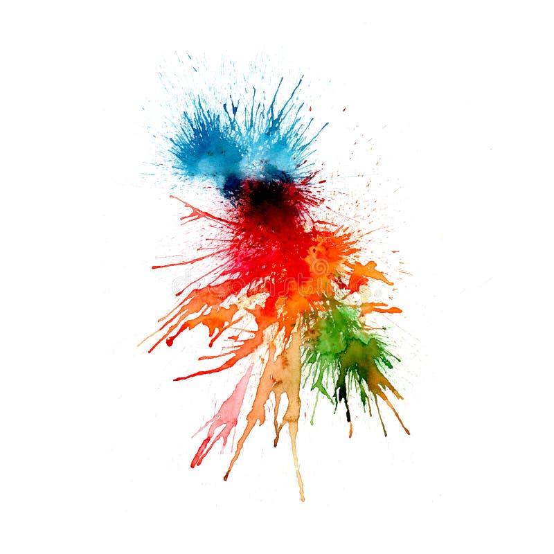 现代绘画-抽象水彩背景-在纸或帆布飞溅,下降, 皇族释放例证