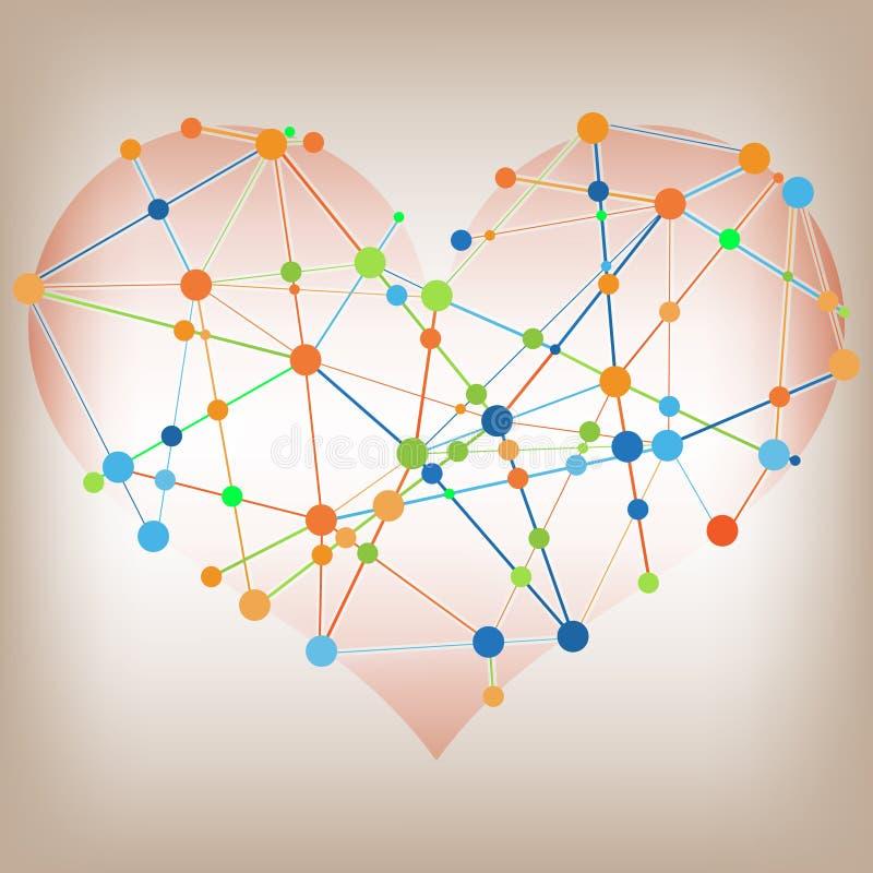 现代摘要信息图形设计-心脏线模板 皇族释放例证