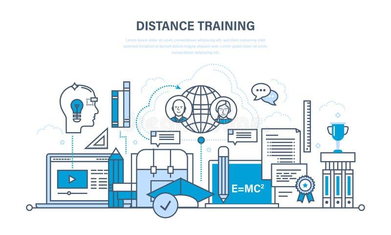 现代教育,学习技术,遥远的网上路线 库存例证