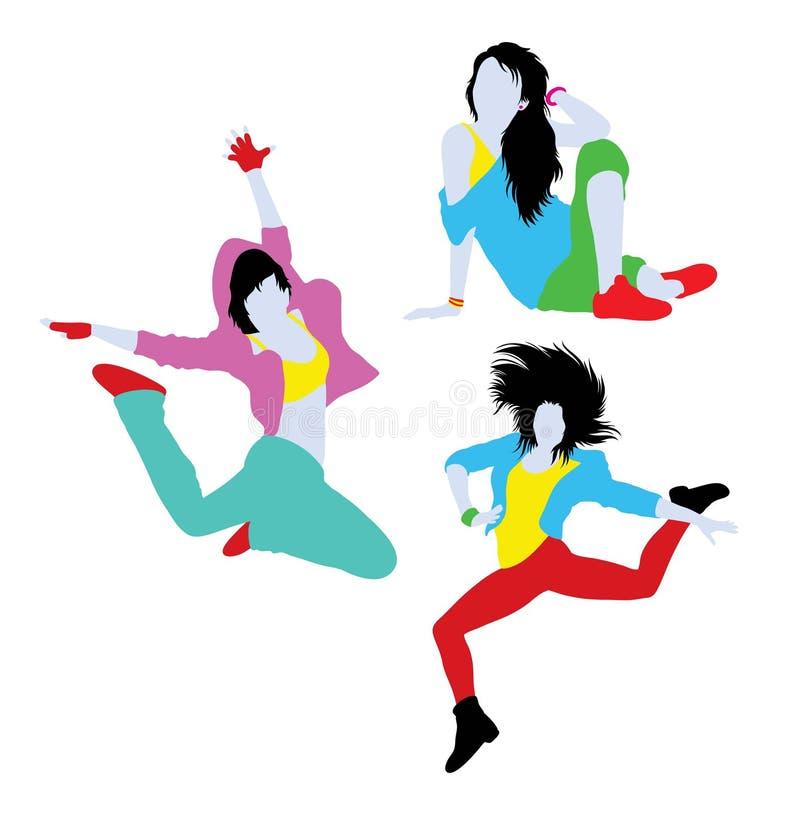 现代断裂舞蹈家活动剪影 向量例证