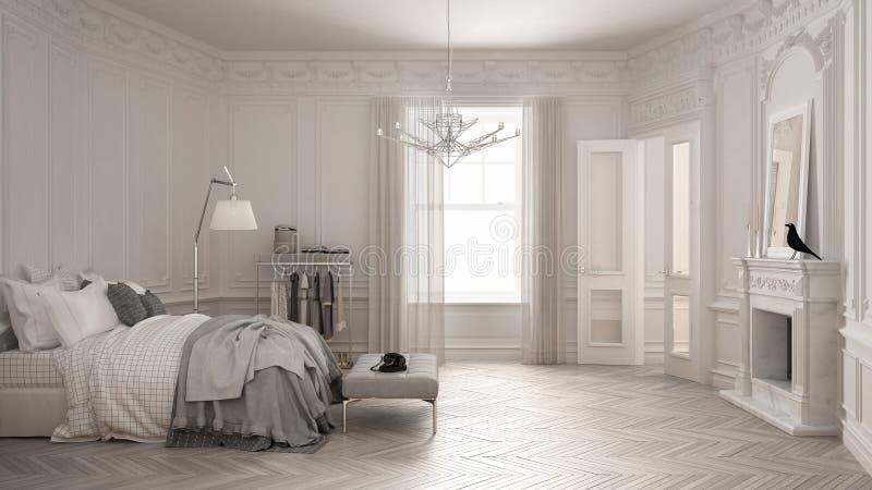 现代斯堪的纳维亚卧室在经典葡萄酒客厅与 皇族释放例证