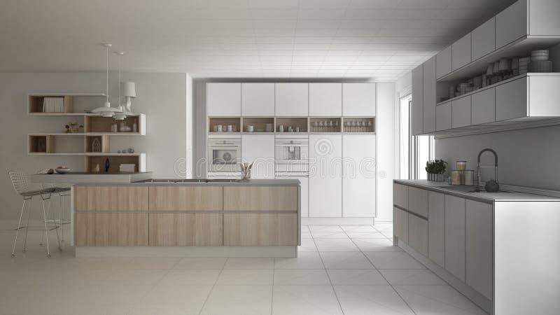 现代斯堪的纳维亚厨房,剪影abstra未完成的项目  库存例证