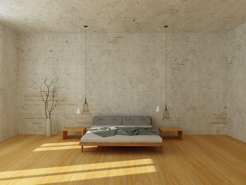 现代斯堪的纳维亚样式的轻的卧室 库存例证