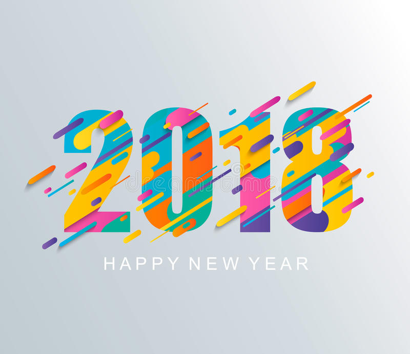 现代新年快乐2018设计卡片 向量例证