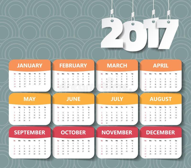 2017现代日历模板 传染媒介/例证 向量例证