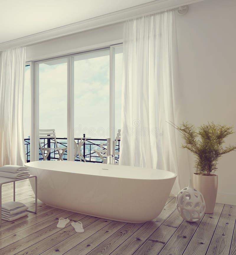 现代时髦的白色卫生间内部 免版税图库摄影