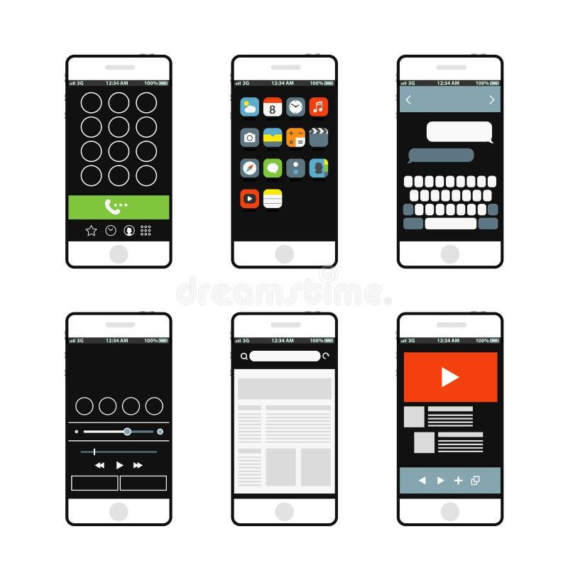 现代智能手机接口元素 库存例证