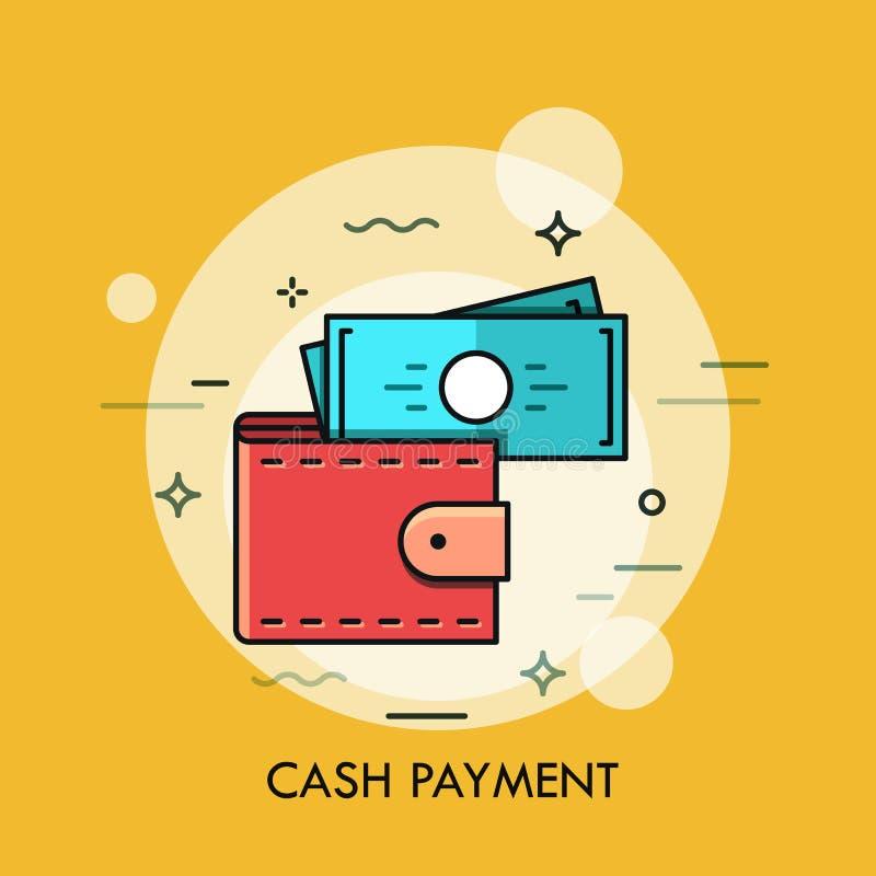现代最小的平的稀薄的线钱包概念传染媒介例证 库存例证