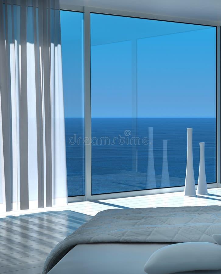现代晴朗的卧室内部有意想不到的海景视图 免版税库存图片
