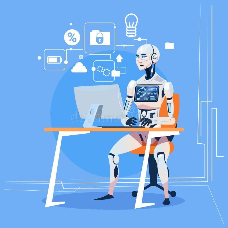 现代机器人与计算机定象错误未来派人工智能技术概念一起使用 向量例证