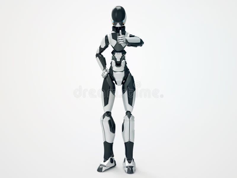 现代机器人赞赏/3d靠机械装置维持生命的人象 库存图片
