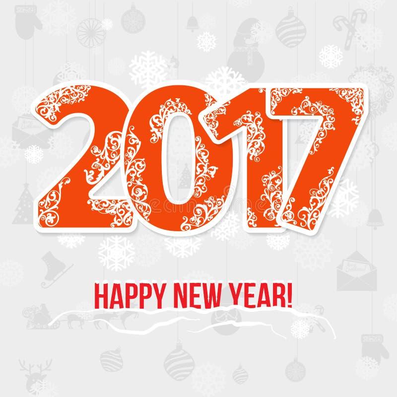 2017现代样式红色灰色白色色彩设计新年贺卡 向量例证
