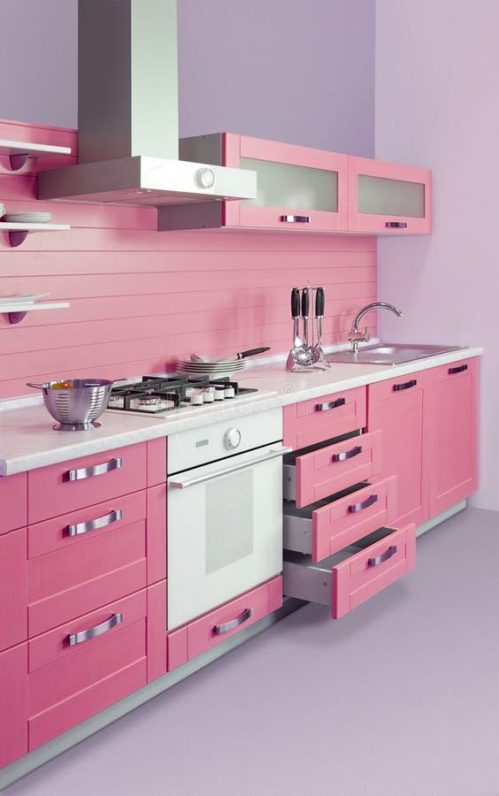 现代桃红色厨房 免版税库存照片