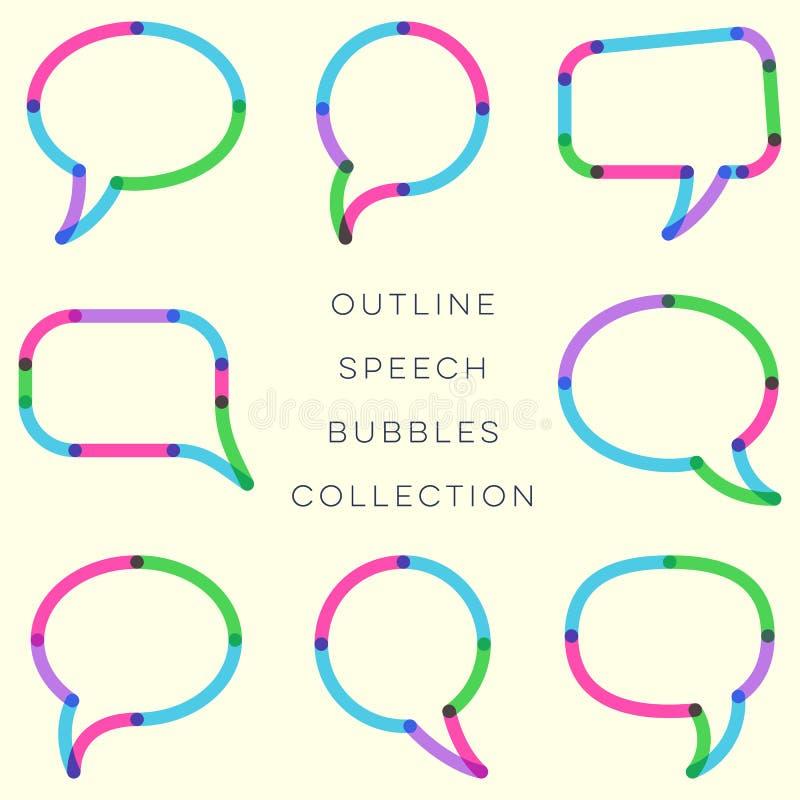 现代概述五颜六色的讲话起泡汇集 向量例证