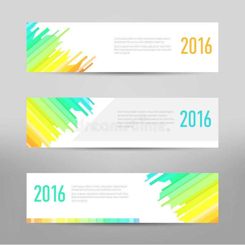 现代横幅-企业横幅-飞行物设计 传染媒介布局模板 设计色的抽象横幅模板 皇族释放例证