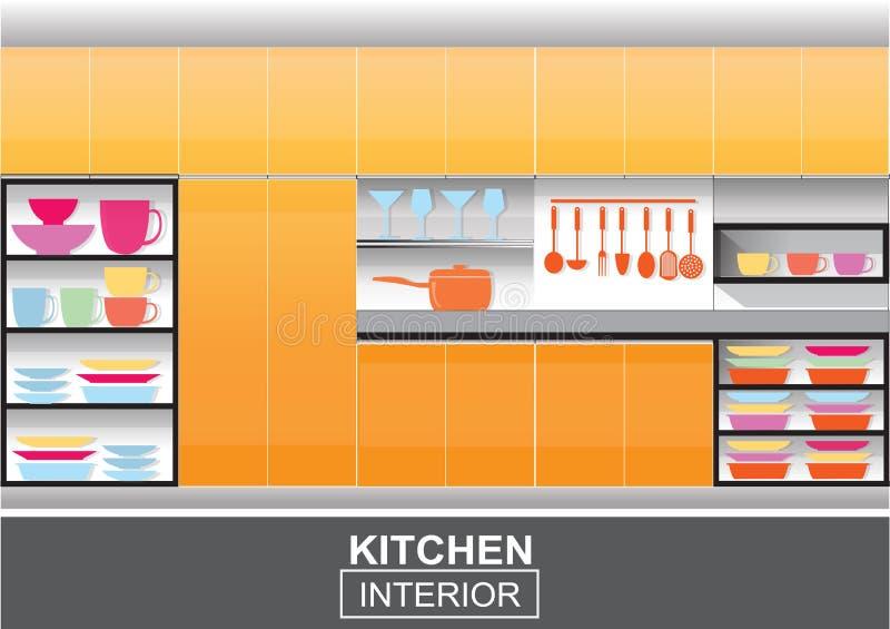 现代橙色厨房内部传染媒介 皇族释放例证