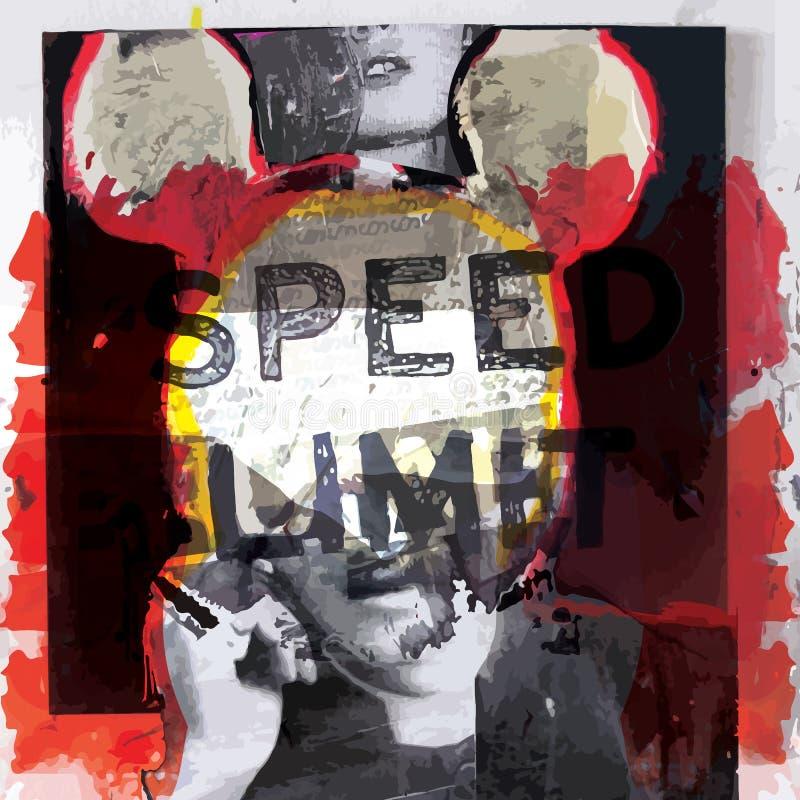 现代海报艺术设计时尚样式;拼贴画图表传染媒介 皇族释放例证