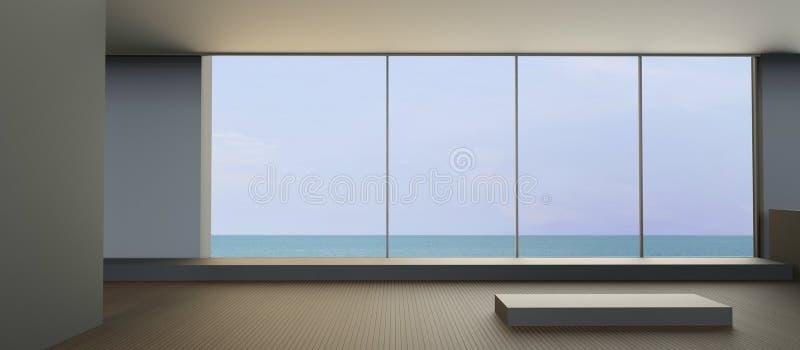 现代海滩休息室在海视图的假日 免版税库存照片