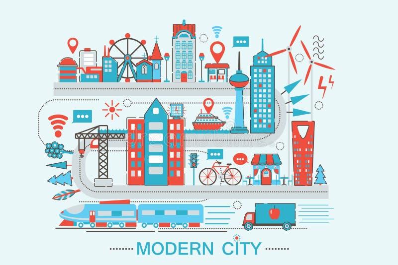 现代现代聪明的城市图表平的线设计样式infographics概念 库存例证