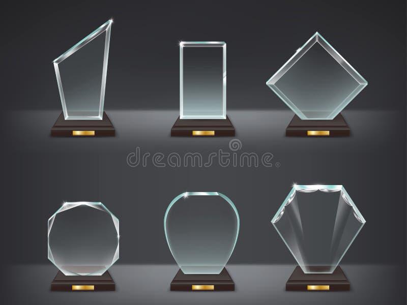现代玻璃战利品,奖的汇集例证 库存例证