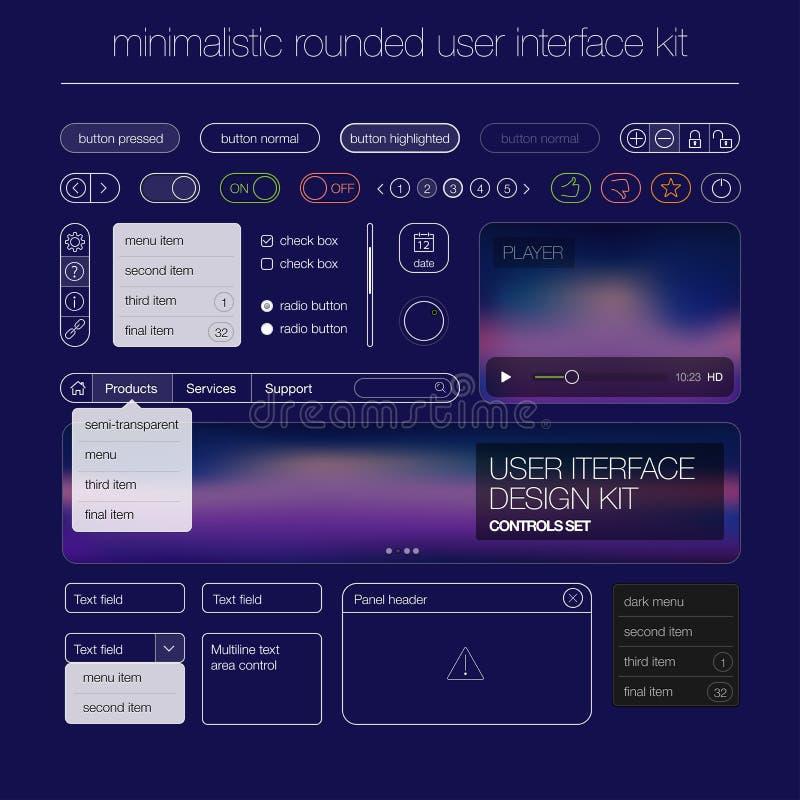 现代用户界面屏幕模板成套工具为 皇族释放例证