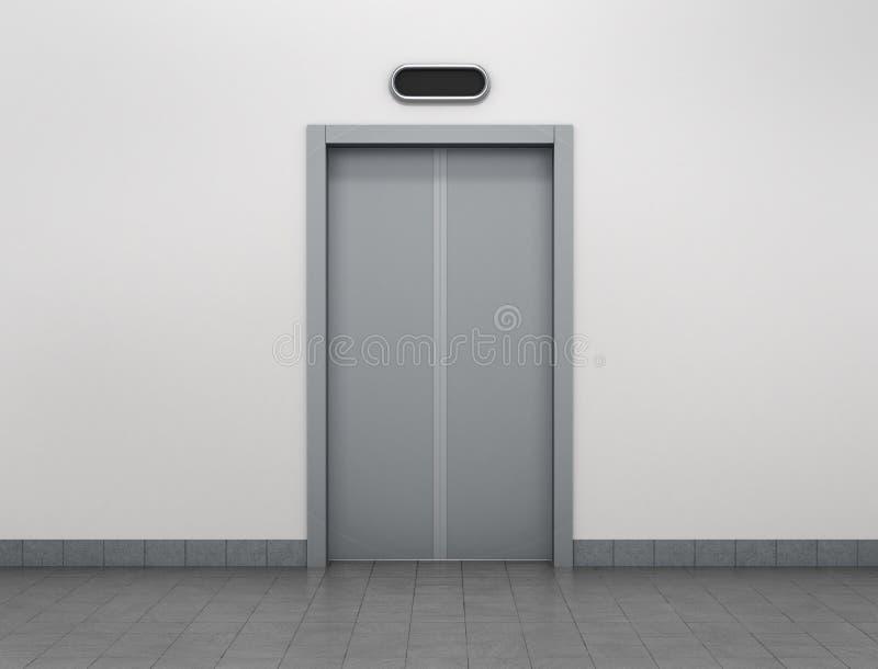 现代电梯或推力门由金属制成关闭了 向量例证
