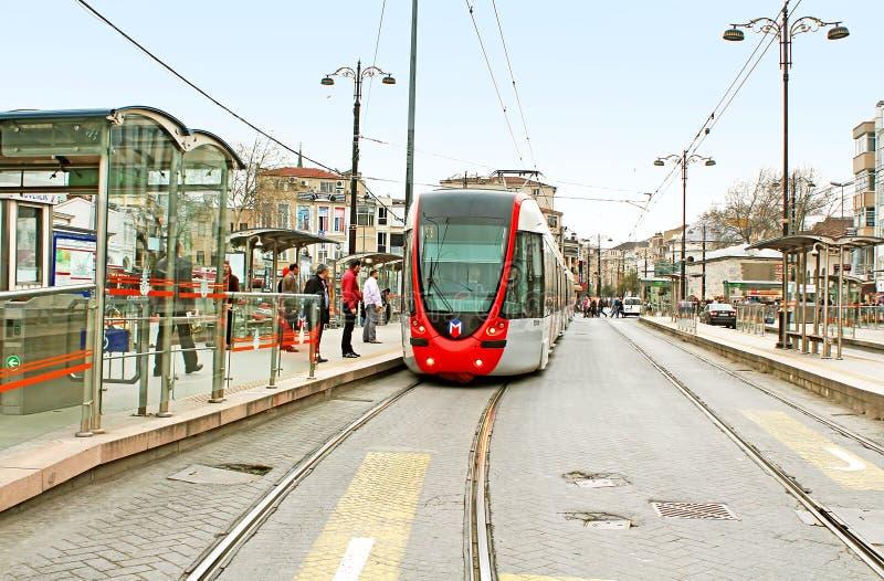 现代电车在伊斯坦布尔,土耳其 免版税库存照片