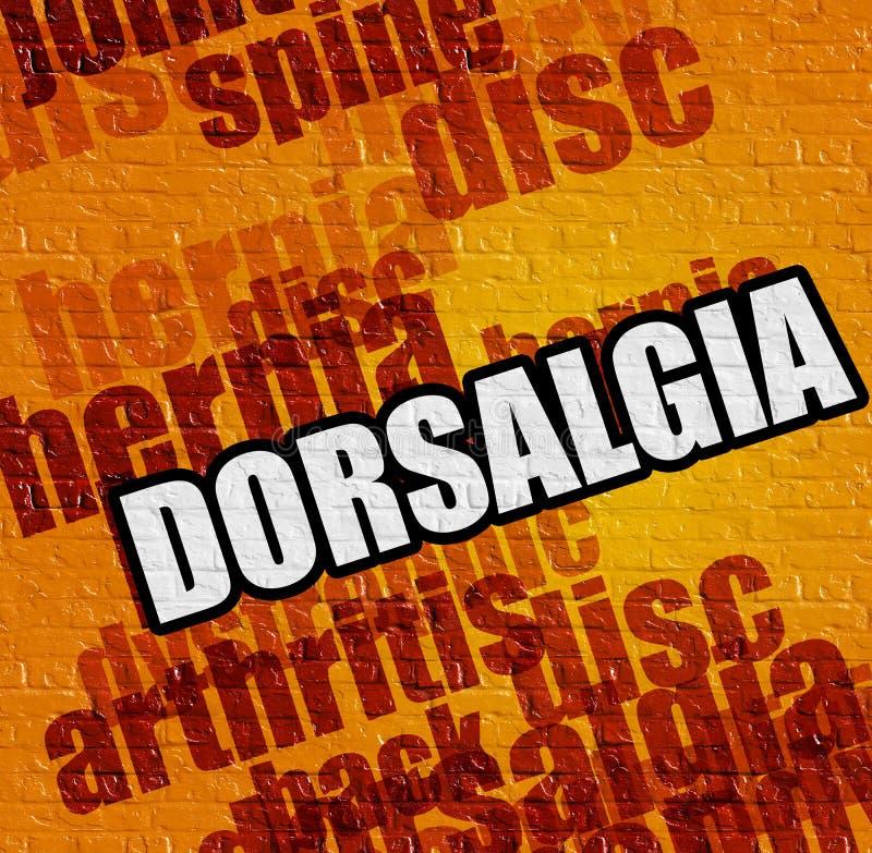 现代医疗概念:在黄色砖墙上的Dorsalgia 皇族释放例证