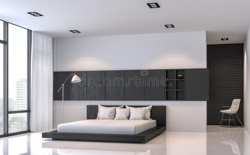 现代黑白卧室内部最小的样式3d翻译图象 皇族释放例证