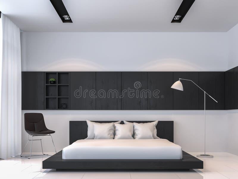 现代黑白卧室内部最小的样式3d翻译图象 库存例证