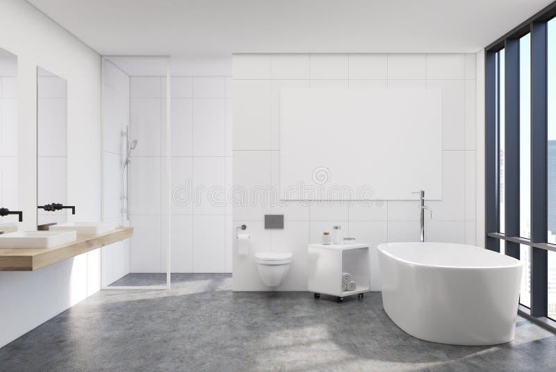 现代白色卫生间内部,海报 向量例证